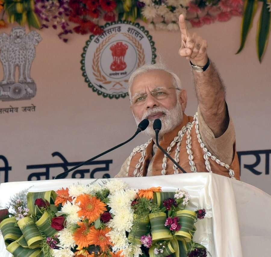 Bijapur: Prime Minister Narendra Modi addresses at the inauguration of Health and Wellness Centre to mark the launch of Ayushman Bharat Yojana, in Chattisgarh's Bijapur on April 14, 2018. (Photo: IANS/PIB) by .