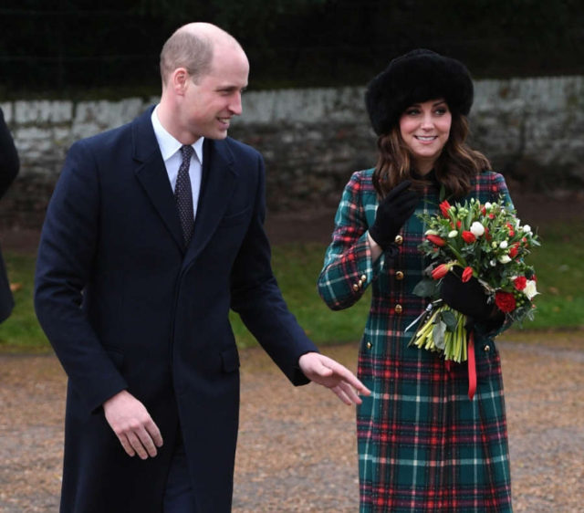SANDRINGHAM (BRITAIN), Dec. 26, 2017 (Xinhua) -- Prince William, the Duke of Cambridge, and his wife Catherine, the Duchess of Cambridge attend Christmas Day Church service at Church of St Mary Magdalene in Sandringham, Britain, on Dec. 25, 2017. (Xinhua/ by Xinhua.