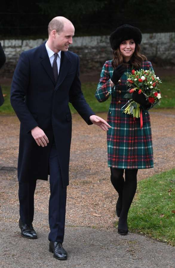 SANDRINGHAM (BRITAIN), Dec. 26, 2017 (Xinhua) -- Prince William, the Duke of Cambridge, and his wife Catherine, the Duchess of Cambridge attend Christmas Day Church service at Church of St Mary Magdalene in Sandringham, Britain, on Dec. 25, 2017. (Xinhua/IANS) by .