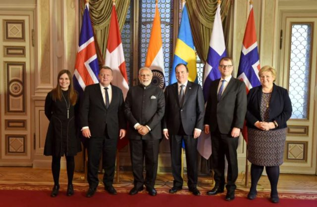 Stockholm: Prime Minister Narendra Modi with heads of state of five Nordic nations of Sweden, Denmark, Iceland, Norway and Finland at India-Nordic Summit, in Stockholm, Sweden on April 17, 2018. (Photo: IANS/PIB) by .