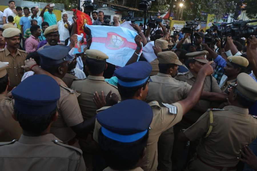 Chennai: Police stops people demanding Cauvery Management Board (CMB) from staging a demonstration against an IPL match between Chennai Super Kings (CSK) and Kolkata Knight Riders (KKR) scheduled to be held at Chepauk Stadium in Chennai on April 10, 2018. (Photo: IANS) by .