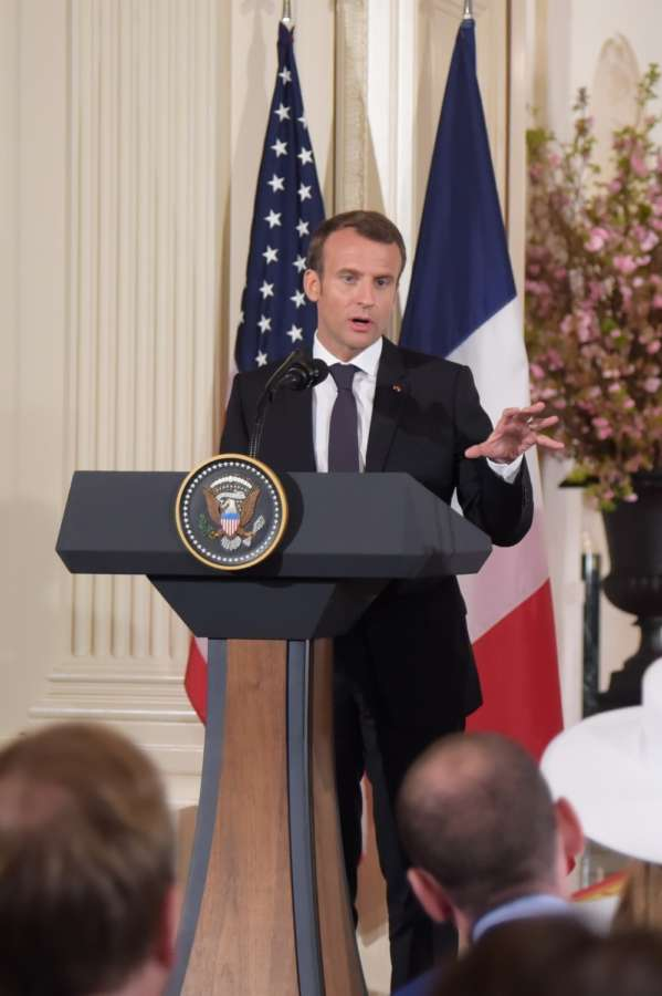 WASHINGTON, April 24, 2018 (Xinhua) -- French President Emmanuel Macron speaks at a joint press conference with U.S. President Donald Trump (not in the picture) at the White House in Washington D.C., the United States, April 24, 2018. Macron is on a state visit to the United States from Monday to Wednesday. (Xinhua/Yang Chenglin/IANS) by .
