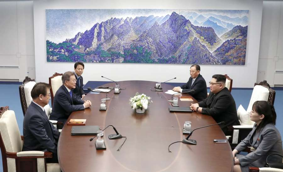 Panmunjom: South Korean President Moon Jae-in (2nd from L) and North Korean leader Kim Jong-un (2nd from R) hold talks at the Peace House of the truce village of Panmunjom on April 27, 2018.(Yonhap/IANS) by .