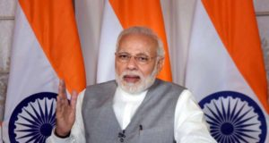 New Delhi: Prime Minister Narendra Modi addresses the Rashtriya Jan Jagriti Dharam Sammelan, at Srisailam via video conference from New Delhi on March 17, 2018. (Photo: IANS/PIB) by .