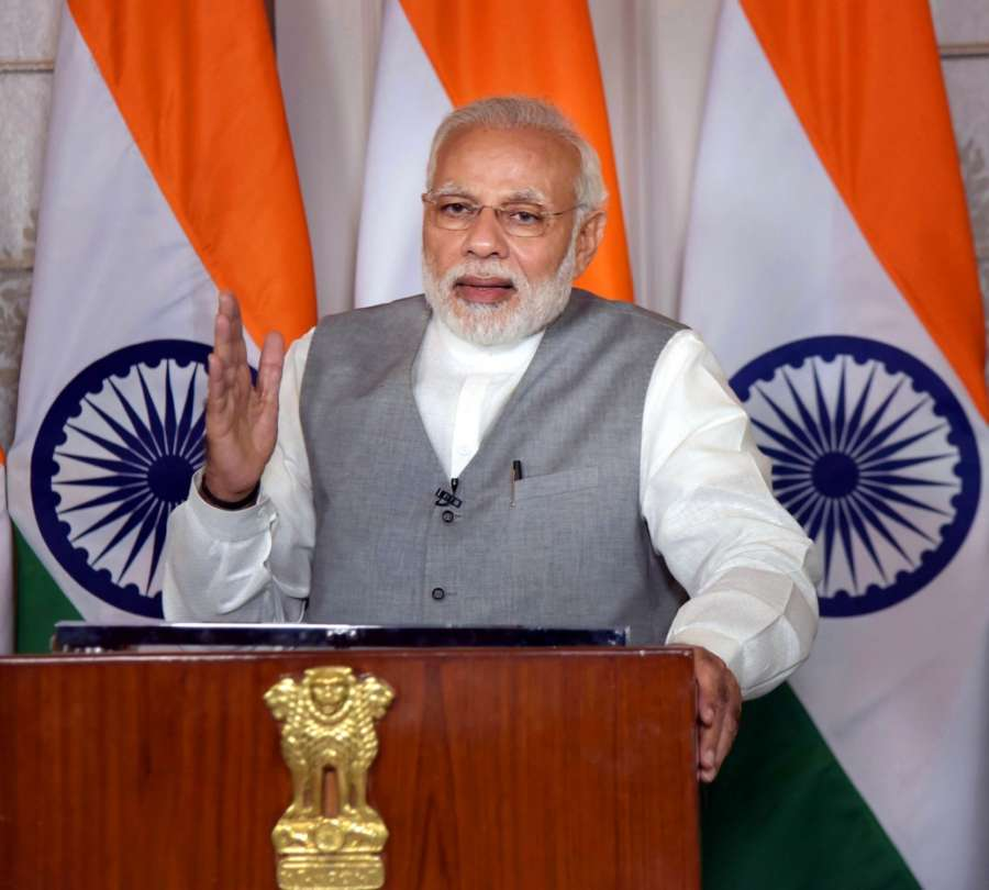 New Delhi: Prime Minister Narendra Modi addresses the Rashtriya Jan Jagriti Dharam Sammelan, at Srisailam via video conference from New Delhi on March 17, 2018. (Photo: IANS/PIB) by .