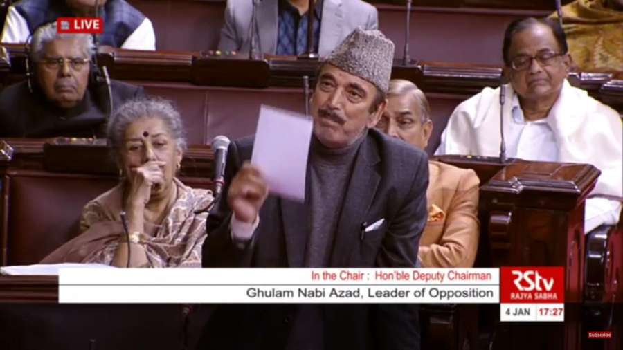 New Delhi: Leader of Opposition in Rajya Sabha Ghulam Nabi Azad participates in a debate on the Tripple Talaq Bill in the house on Jan 4, 2018. (Photo: IANS/Screen grab RSTV) by .