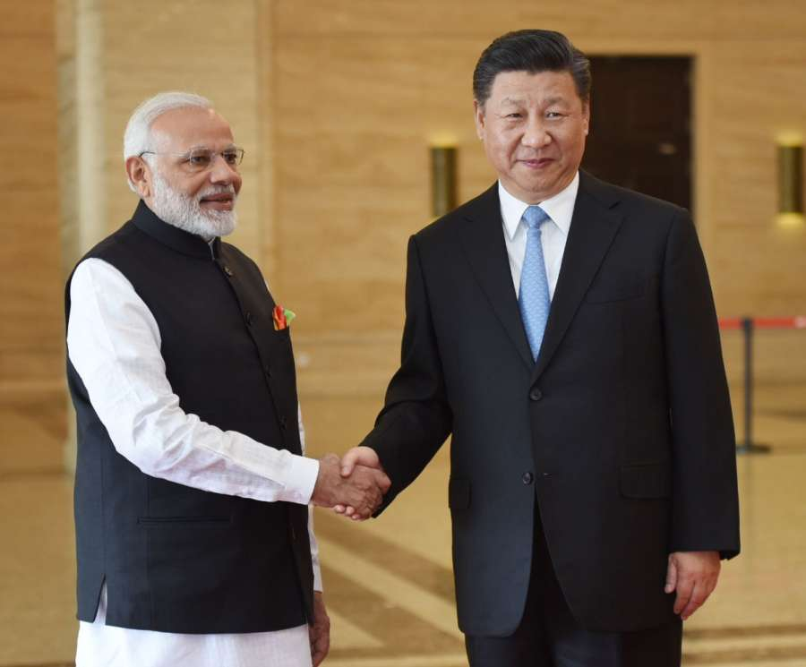 Wuhan: Prime Minister Narendra Modi meets Chinese President Xi Jinping in Wuhan, China on April 27, 2018. (Photo: IANS/PIB) by .