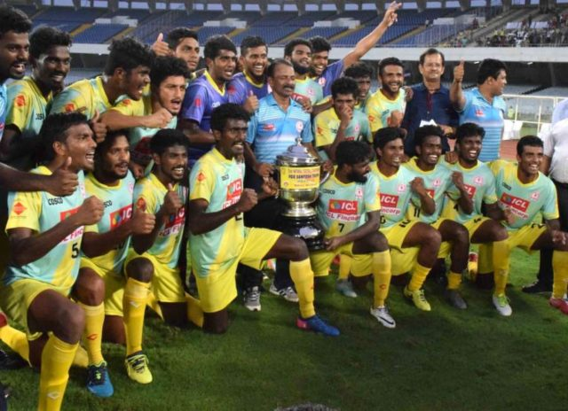 Kolkata: Players of Kerala with their Santosh Trophy after winning win the 72nd edition of the Santosh Trophy football tournament by beating defending champions Bengal 4-2 in the tie-breaker after the final ended 2-2 in extra time; at the Vivekananda Yuvabharati Krirangan in Kolkata on April 1, 2018 (Photo: IANS) by .