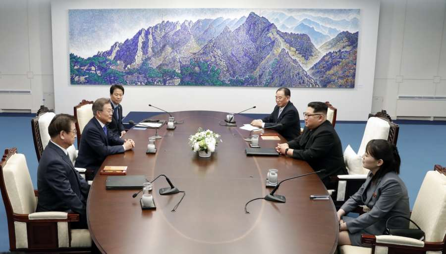 PANMUNJOM, April 27, 2018 (Xinhua) -- South Korean President Moon Jae-in (2nd L) meets with top leader of the Democratic People's Republic of Korea (DPRK) Kim Jong Un (2nd R) at the Peace House, a building on the South Korean side of Panmunjom, April 27, 2018. Moon Jae-in and Kim Jong Un began formal talks Friday morning in the border village of Panmunjomon on the South Korean side at the third-ever inter-Korea summit. (Xinhua/Inter-Korean Summit Press Corps/IANS) by .