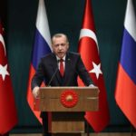 ANKARA, April 3, 2018 (Xinhua) -- Turkish President Recep Tayyip Erdogan attends a joint press conference with Russian President Vladimir Putin (not in the picture) following their meeting in Ankara, Turkey, April 3, 2018. Vladimir Putin said Tuesday that Russia and Turkey agreed to bring forward the delivery of the S-400 missile defense systems to Turkey. (Xinhua/Mustafa Kaya/IANS) by .