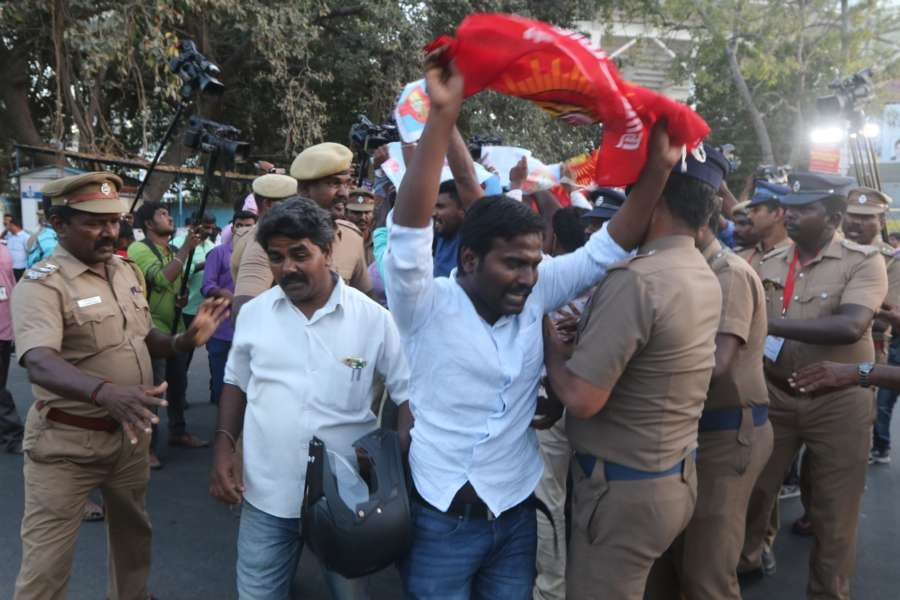 Chennai: People demanding the constitution of Cauvery Management Board (CMB) stage a demonstration against an IPL match between Chennai Super Kings (CSK) and Kolkata Knight Riders (KKR) scheduled to be held at Chepauk Stadium in Chennai on April 10, 2018. (Photo: IANS) by .