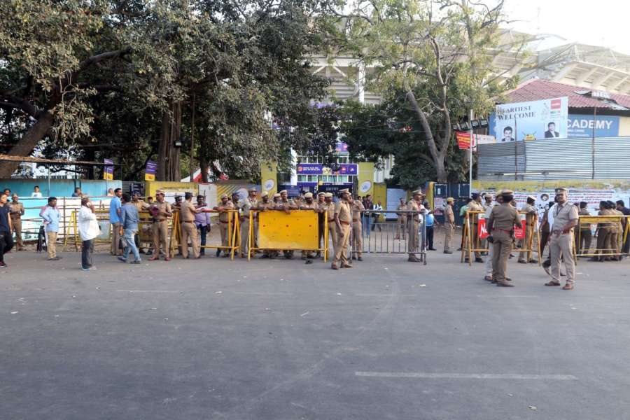 Chennai: Security beefed up ahead of an IPL match between Chennai Super Kings (CSK) and Kolkata Knight Riders (KKR), amid protests over Cauvery Management Board, outside Chepauk Stadium where the match is scheduled to be held, in Chennai on April 10, 2018. (Photo: IANS) by .