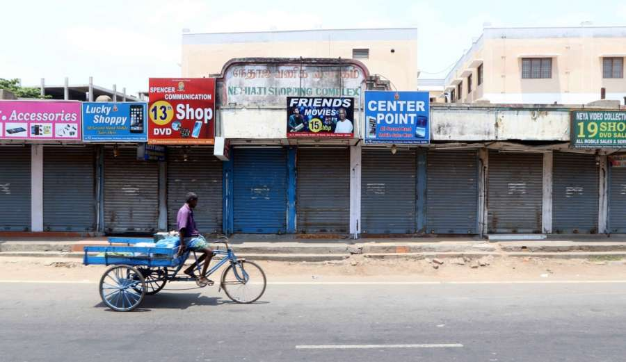 Chennai: Shops remain shut during a DMK-led shutdown strike over the Centre's failure to set up a Cauvery Management Board (CMB), in Chennai on April 5, 2018. (Photo: IANS) by .