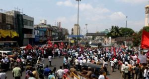Chennai: Centre of Indian Trade Unions (CITU) workers block roads as they stage a demonstration during a DMK-led shutdown strike over the Centre's failure to set up a Cauvery Management Board (CMB), in Chennai on April 5, 2018. (Photo: IANS) by .