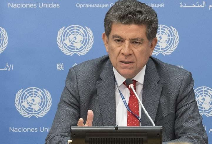 United Nations Security Council President Gustavo Meza-Cuadra, who is the Permanent Representative of Peru, at a news conference on Monday, April 2, 2018, at the UN headquarters in New York. (Photo: UN/IANS) by .