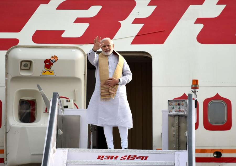 New Delhi: Prime Minister Narendra Modi emplanes for visit to Sweden and UK from New Delhi on April 16, 2018. (Photo: IANS/PIB) by .