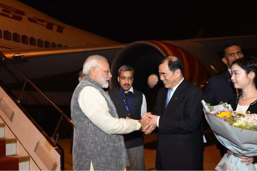 Wuhan (China): Prime Minister Narendra Modi arrives at the Wuhan for the 1st Informal Summit with Chinese President Xi Jinping, on April 26 ,2018. (Photo: IANS/MEA) by .