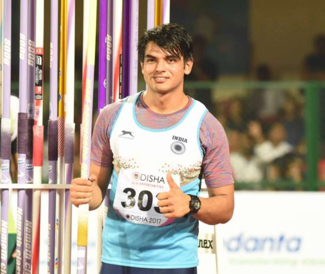 Bhubaneswar: Javelin thrower Neeraj Chopra who won gold on the final day of the Asian Athletics Championships in Bhubaneswar on July 9, 2017. (Photo: IANS) by .