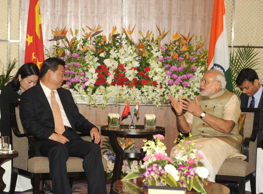 Prime Minister Narendra Modi and Chinese President Xi Jinping during a meeting in Ahmedabad, Gujarat on September 17, 2014. (Photo: IANS/PIB) by .
