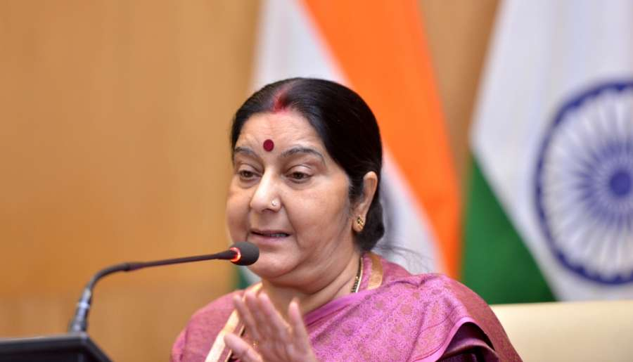 New Delhi: External Affairs Minister Sushma Swaraj addresses a press conference in New Delhi on March 20, 2018. (Photo: IANS) by .