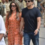 Jodhpur: Actress Neelam Kothari along with her husband Sameer Soni, arrives to appear before a Jodhpur rural court in connection with the hearing in black buck poaching case, on April 5, 2018. While Actor Salman Khan was found guilty on Thursday in the 1998 black buck poaching case, the other four accused actors -- Sonali Bendre, Saif Ali Khan, Tabu and Neelam -- were acquitted of all charges. (Photo: IANS) by .
