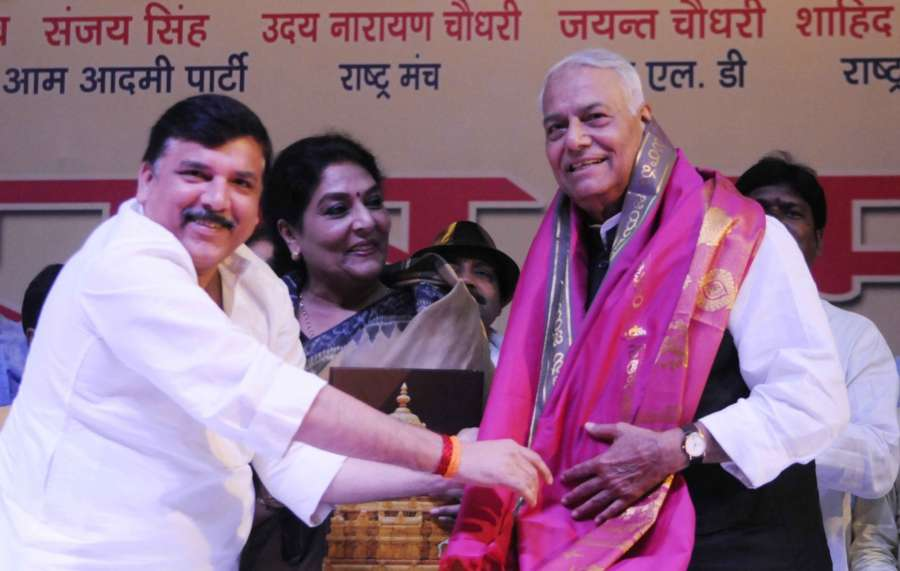 Patna: Former BJP leader Yashwant Sinha, Congress leader Renuka Choudhary and AAP leader Sanjay Singh during a meeting of the Rashtra Manch, in Patna on April 21, 2018. (Photo: IANS) by .