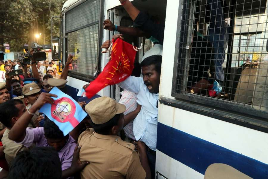 Chennai: People demanding the constitution of Cauvery Management Board (CMB) being taken away by police during their demonstration against an IPL match between Chennai Super Kings (CSK) and Kolkata Knight Riders (KKR) scheduled to be held at Chepauk Stadium in Chennai on April 10, 2018. (Photo: IANS) by .