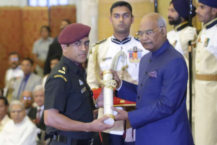 New Delhi: Indian cricketer MS Dhoni receives Padma Bhushan from President Ram Nath Kovind during a Civil Investiture Ceremony at Rashtrapati Bhavan on April 2, 2018. (Photo: Amlan Paliwal/IANS) by .