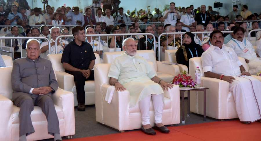 Chennai: Prime Minister Narendra Modi with Tamil Nadu Governor Banwarilal Purohit and Chief Minister Edappadi K. Palaniswami at the inauguration ceremony of DefExpo India 2018, at Mahabalipuram near Chennai on April 12, 2018. (Photo: IANS/PIB) by .