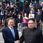 Panmunjom: South Korean President Moon Jae-in and his North Korean counterpart Kim Jong-un pose for a photo after the latter crossed the inter-Korean border for talks at the truce village of Panmunjom on April 27, 2018(Yonhap/IANS) by .
