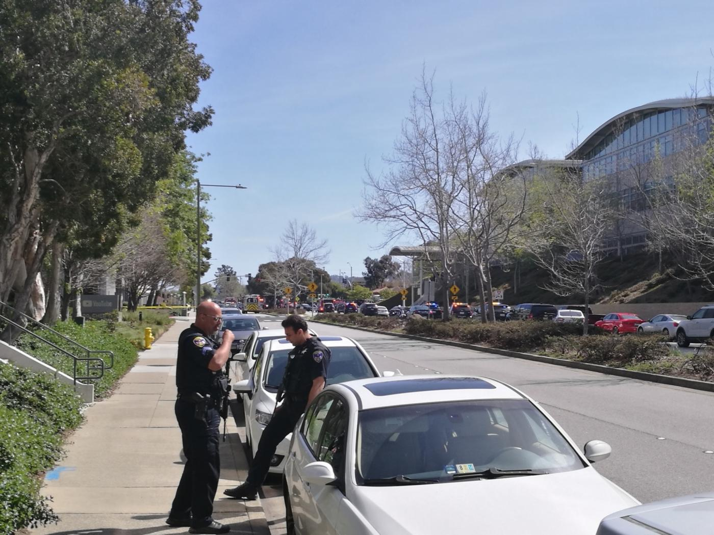SAN BRUNO (U.S.), April 3, 2018 (Xinhua) -- Police officers stand guard near the headquarters of YouTube in San Bruno, California, the United States, April 3, 2018. Police in north California are responding to a reported shooting at the headquarters of the world's largest online video network YouTube Tuesday afternoon, authorities said. (Xinhua/Wu Xiaoling/IANS) by .