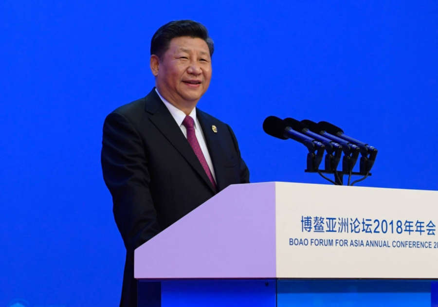 BOAO, April 10, 2018 (Xinhua) -- Chinese President Xi Jinping delivers a keynote speech at the opening ceremony of the Boao Forum for Asia Annual Conference 2018 in Boao, south China's Hainan Province, April 10, 2018. (Xinhua/Li Xueren/IANS) by Xinhua.