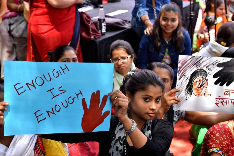 New Delhi: Women and children during an indefinite hunger strike at Rajghat against Unnao and Kathua rape incidents and appeal to the Prime Minister Narendra Modi to pass a law for a death penalty for rape convicts of minor, in New Delhi on April 13, 2018. (Photo: IANS) by .