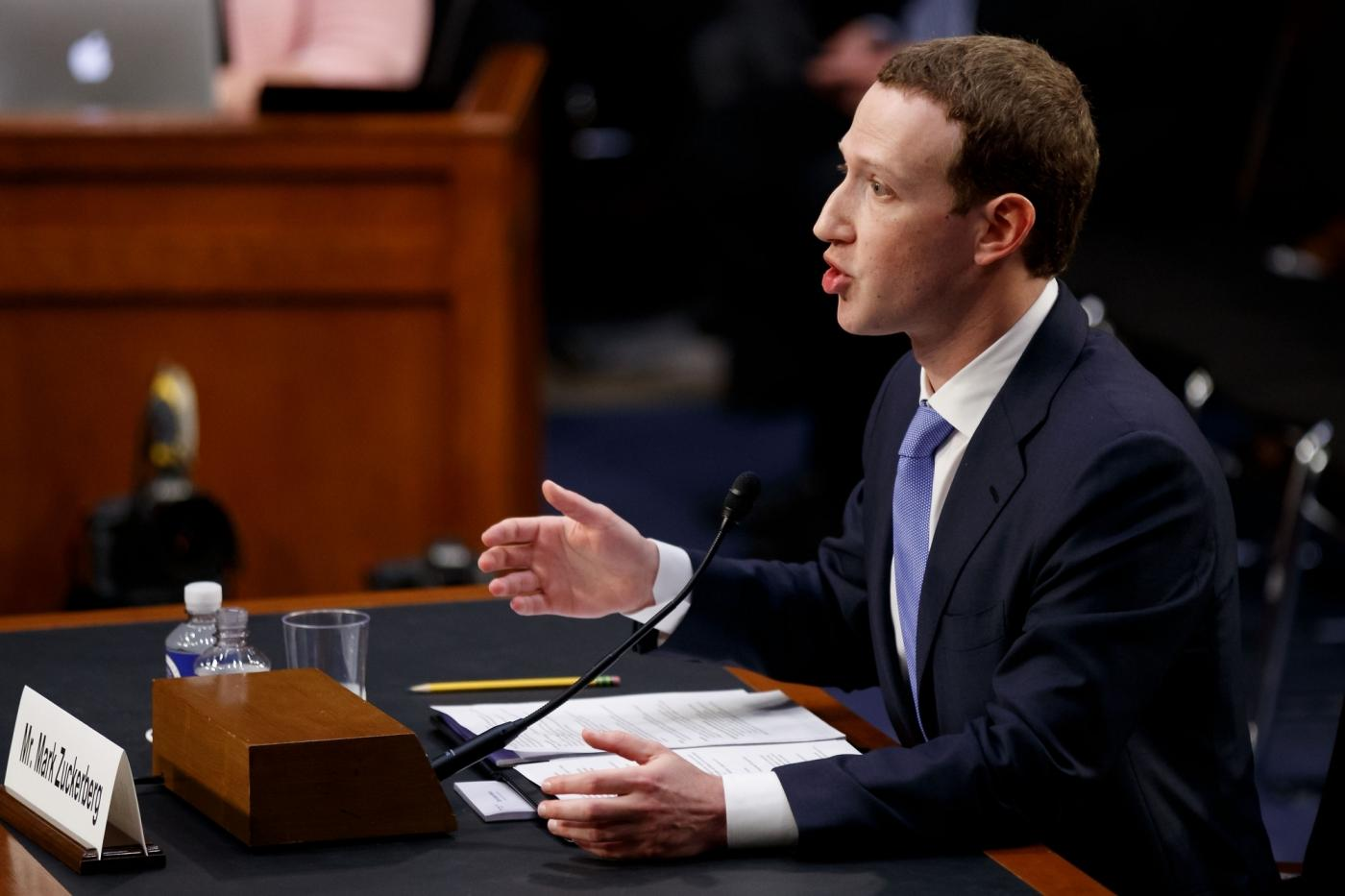 WASHINGTON, April 10, 2018 (Xinhua) -- Facebook CEO Mark Zuckerberg testifies at a joint hearing of the Senate Judiciary and Commerce committees on Capitol Hill in Washington D.C., United States, on April 10, 2018. Facebook CEO Mark Zuckerberg told Congress in written testimony on Monday that he is