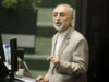 TEHRAN, July 21, 2015 (Xinhua) -- Head of the Atomic Energy Organization of Iran Ali Akbar Salehi delivers a speech at Iran's parliament in Tehran, Iran, on July 21, 2015. Salehi said here on Tuesday that the nuclear agreement enables Iran to export its e by Xinhua.