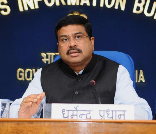 New Delhi: Union Minister for Petroleum and Natural Gas and Skill Development and Entrepreneurship Dharmendra Pradhan addresses a press conference on PNG matters in New Delhi on Feb 13, 2018. (Photo: IANS/PIB) by .