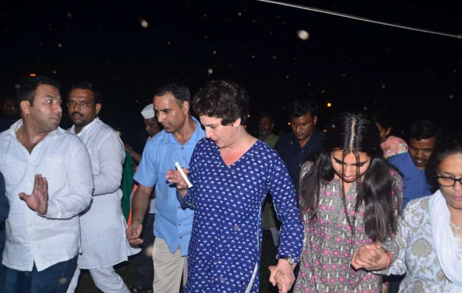 New Delhi: Congress President Rahul Gandhi's sister Priyanka Gandhi Vadra participates in a candlelight vigil called by Rahul to protest against incidents of rape in Unnao (Uttar Pradesh) and Kathua (Jammu and Kashmir) at India Gate in New Delhi on April 12, 2018. (Photo: Bidesh Manna/IANS) by .