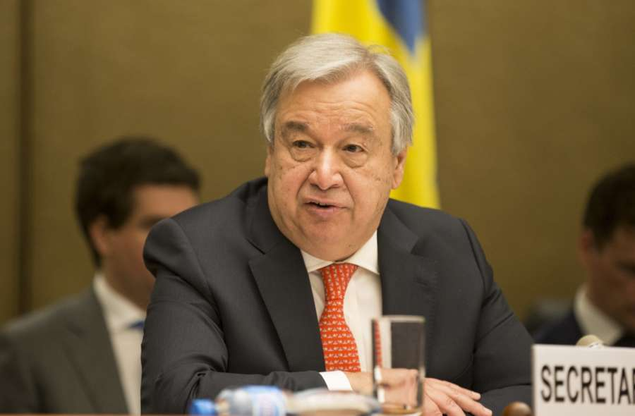 GENEVA, April 3, 2018 (Xinhua) -- UN Secretary-General Antonio Guterres delivers a speech during the High-Level Pledging Event for the Humanitarian Crisis in Yemen at Palais des Nations in Geneva, Switzerland, April 3, 2018. UN Secretary-General Antonio Guterres applauded Tuesday international pledges of more than 2 billion U.S. dollars in 2018 for the three-year-old crisis in Yemen. (Xinhua/Xu Jinquan/IANS) by .