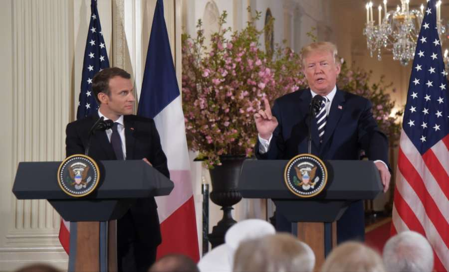 WASHINGTON, April 24, 2018 (Xinhua) -- U.S. President Donald Trump (R) and French President Emmanuel Macron attend a joint press conference at the White House in Washington D.C., the United States, April 24, 2018. Macron is on a state visit to the United States from Monday to Wednesday. (Xinhua/Yang Chenglin/IANS) by .
