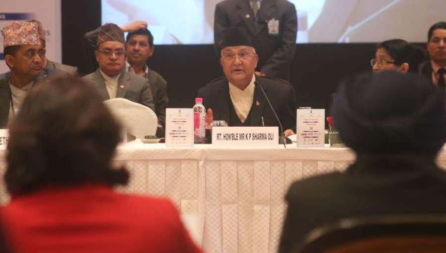 New Delhi: Nepal's Prime Minister KP Sharma Oli at India-Nepal Business Forum in New Delhi on April 6, 2018. (Photo: IANS) by .