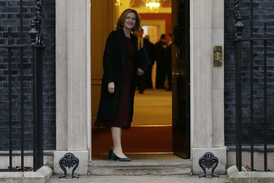 LONDON, Jan. 10, 2018 (Xinhua) -- British Home Secretary Amber Rudd arrives for first cabinet meeting of the year, following yesterday's cabinet reshuffle, at 10 Downing Street, in London, Britain, on Jan. 9, 2018. (Xinhua/Tim Ireland/IANS) by .