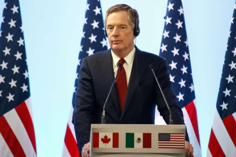 MEXICO CITY, March 6, 2018 (Xinhua) -- U.S. Trade Representative Robert Lighthizer speaks during a press conference after the seventh round of talks to modernize the North American Free Trade Agreement (NAFTA), in Mexico City, capital of Mexico, on March 5, 2018. The seventh round of talks to modernize NAFTA ended here Monday on a mixed note with the U.S. calling the progress not good enough but Mexico remaining upbeat. (Xinhua/Francisco Canedo/IANS) by .