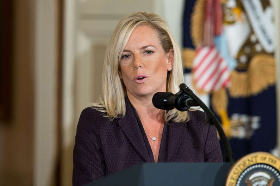 WASHINGTON, Oct. 12, 2017 (Xinhua) -- Kirstjen Nielsen speaks during her nomination announcement at the White House in Washington D.C., the United States, on Oct. 12, 2017. U.S. President Donald Trump on Wednesday nominated Kirstjen Nielsen, an aide to White House Chief of Staff John Kelly, to be Secretary of Homeland Security. (Xinhua/Ting Shen/IANS) by .