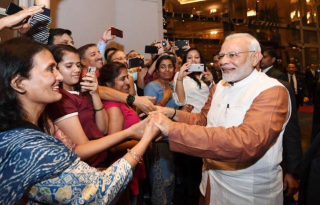 Jakarta: Prime Minister Narendra Modi being welcomed by the Indian Community in Jakarta of Indonesia on May 29, 2018. (Photo: IANS/PIB) by .