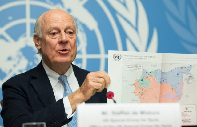 GENEVA, Dec. 14, 2017 (Xinhua) -- The UN Special Envoy for Syria Staffan de Mistura shows a map of Syria at a press conference in Geneva, Switzerland, on Dec. 14, 2017. Staffan de Mistura said that the way Intra-Syrian peace talks proceed will come after he speaks to the Security Council in New York as the eighth round ended Thursday without
