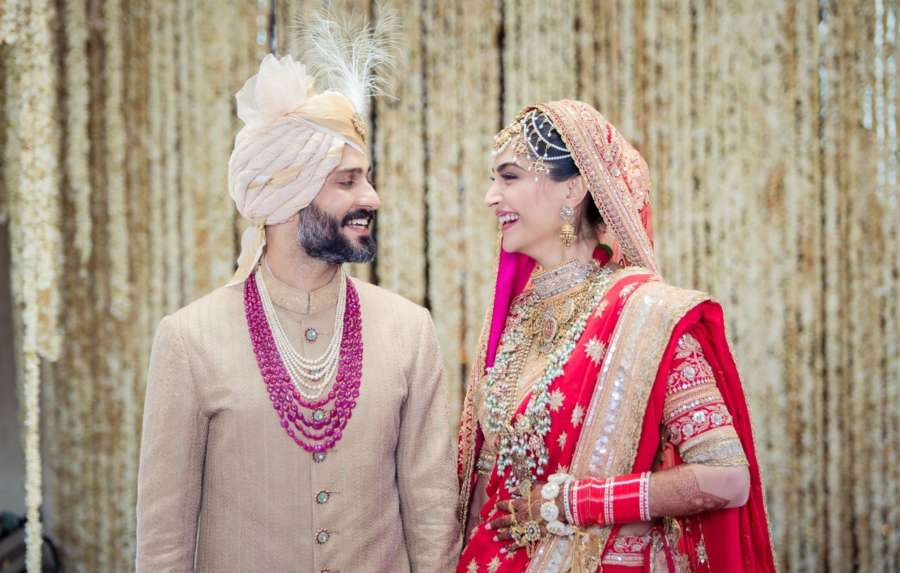 Mumbai: Actress Sonam Kapoor and Anand Ahuja during their wedding ceremony in Mumbai on May 8, 2018. (Photo: IANS) by .