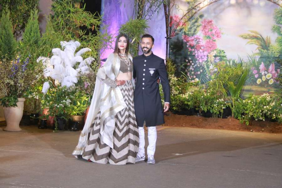 Mumbai:Actress Sonam Kapoor and businessman Anand Ahuja at their wedding reception in Mumbai, on May 8, 2018. (Photo: IANS) by .