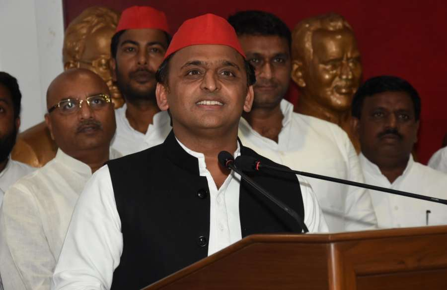 Lucknow: Samajwadi Party Chief Akhilesh Yadav addresses a press conference at the party office in Lucknow on May 31, 2018. (Photo: IANS) by .