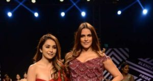 Mumbai: Actress Neha Dhupia showcases creations of fashion designer Sonaakshi Raaj at Blenders Pride Magical Nights in Mumbai on April 13, 2018. (Photo: IANS) by .
