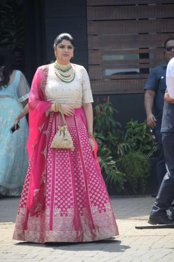 Mumbai: Actor Arjun Kapoor's sister Anshula Kapoor during wedding ceremony of Sonam Kapoor and Anand Ahuja in Mumbai on May 8, 2018. (Photo: IANS) by .